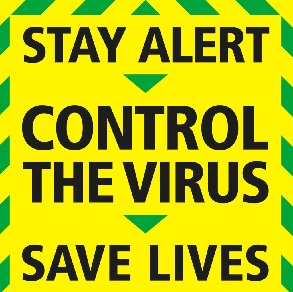 """Stay Alert > Control the Virus > Save Lives"" graphic"