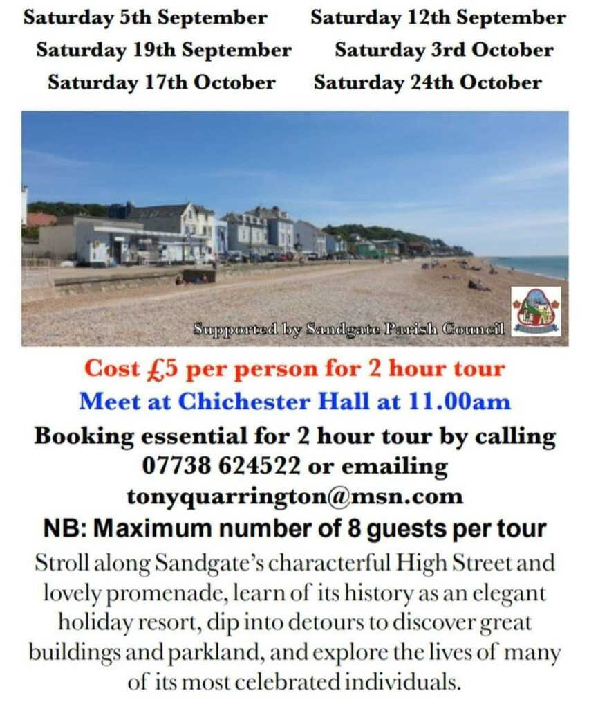 Sandgate Walking Tour leaflet with dates and booking details