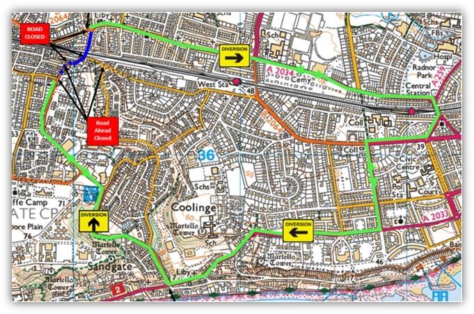 Cheriton map showing diversion